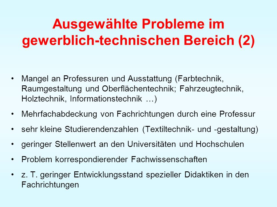 Ausgewählte Probleme im gewerblich-technischen Bereich (2)