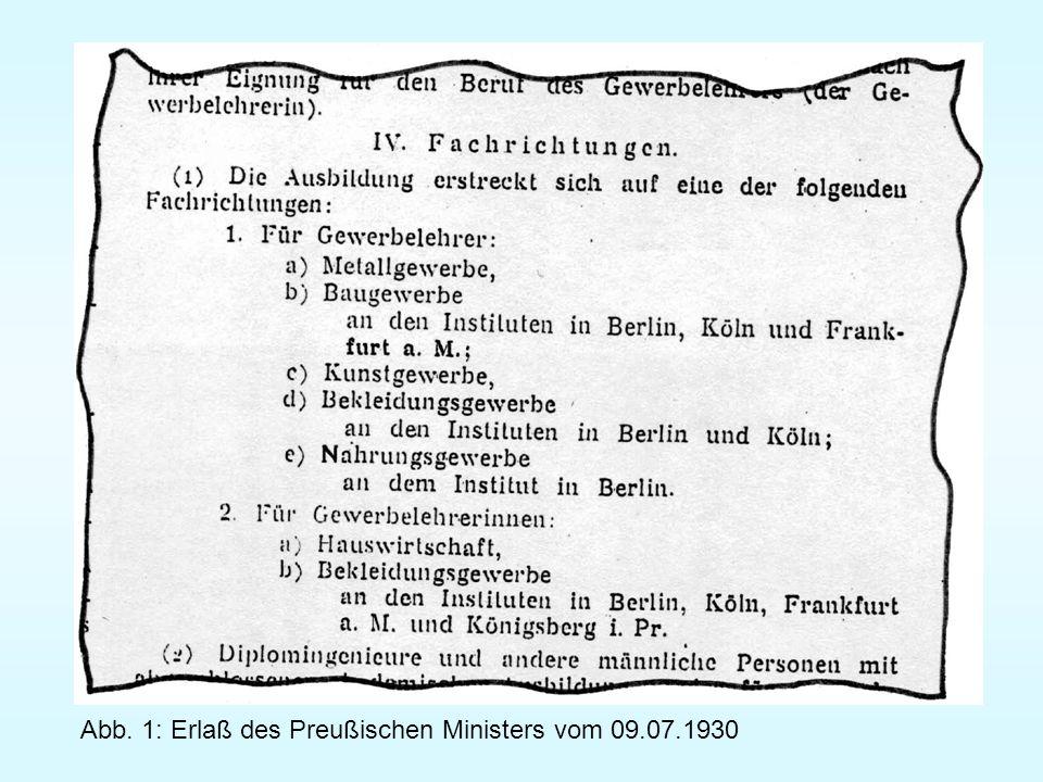 Abb. 1: Erlaß des Preußischen Ministers vom 09.07.1930