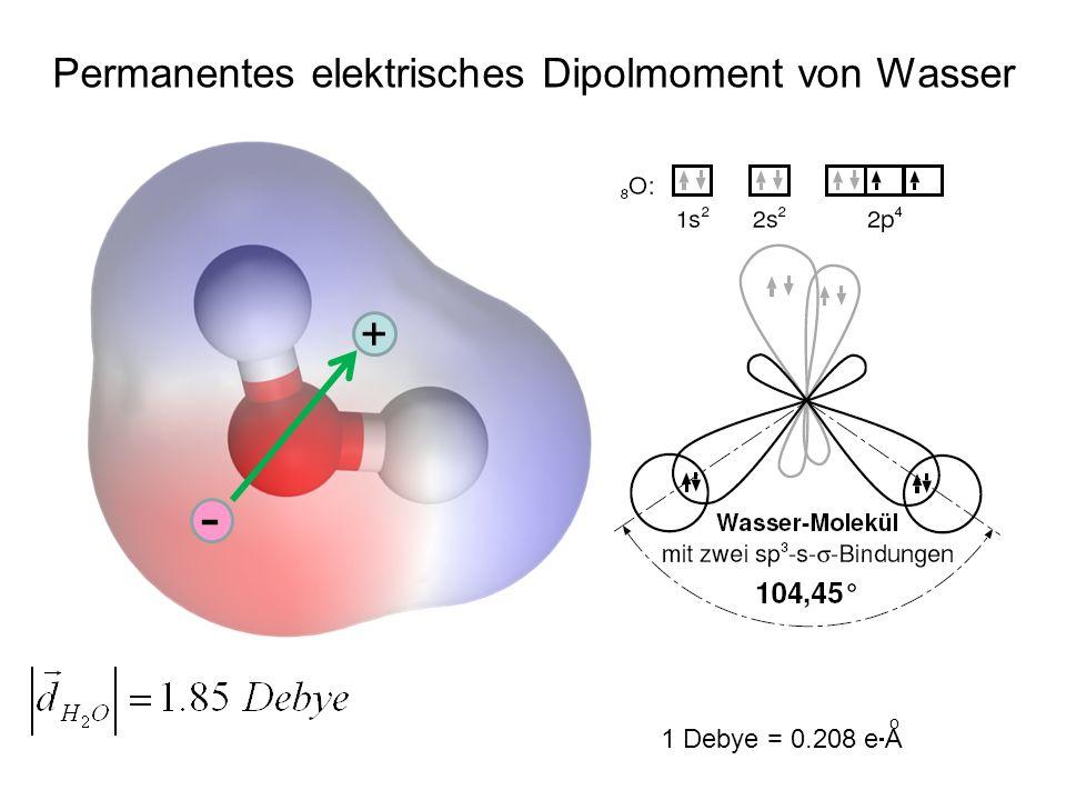 - + Permanentes elektrisches Dipolmoment von Wasser