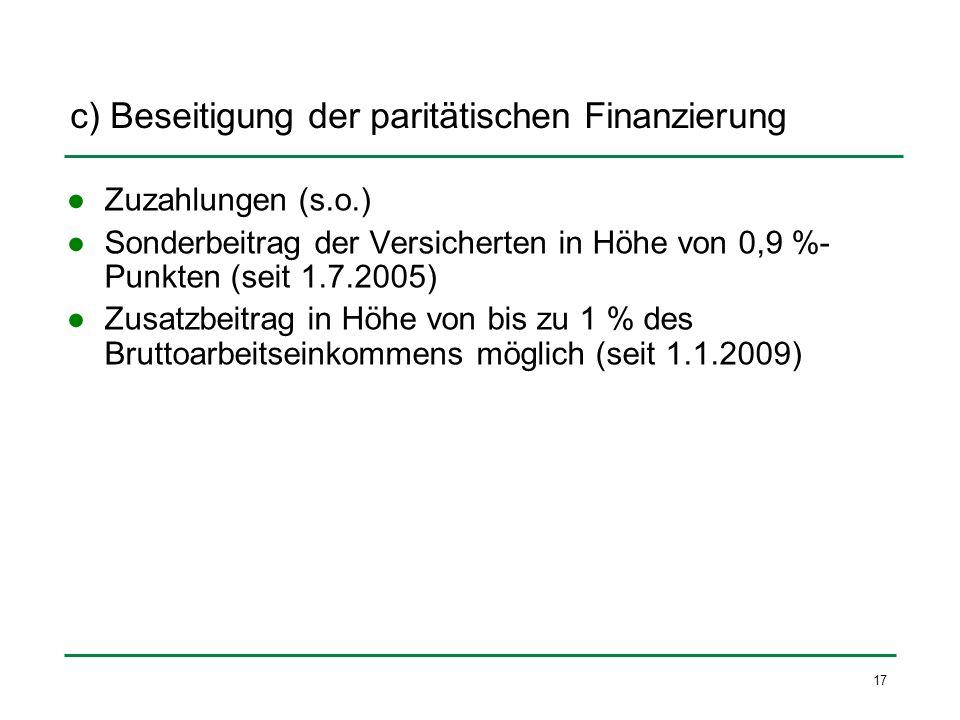 c) Beseitigung der paritätischen Finanzierung