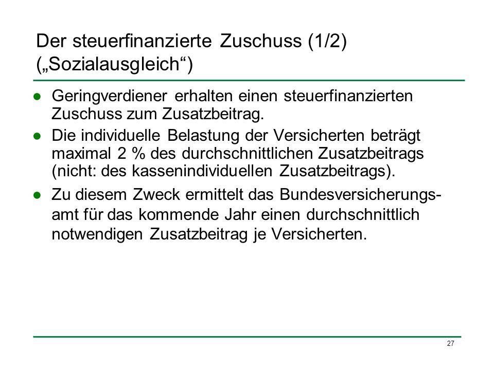 """Der steuerfinanzierte Zuschuss (1/2) (""""Sozialausgleich )"""
