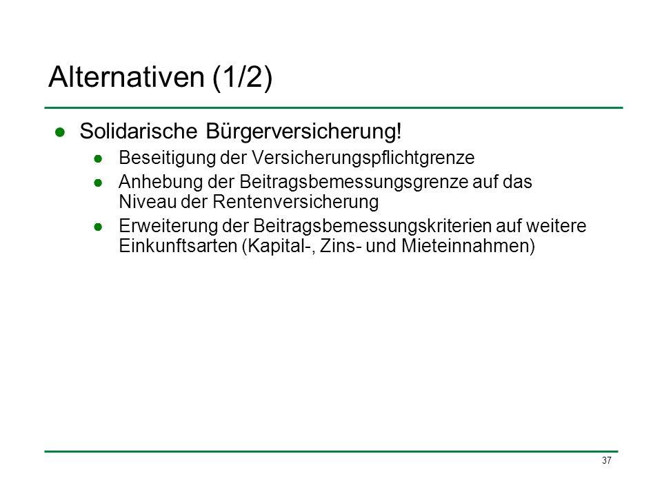 Alternativen (1/2) Solidarische Bürgerversicherung!