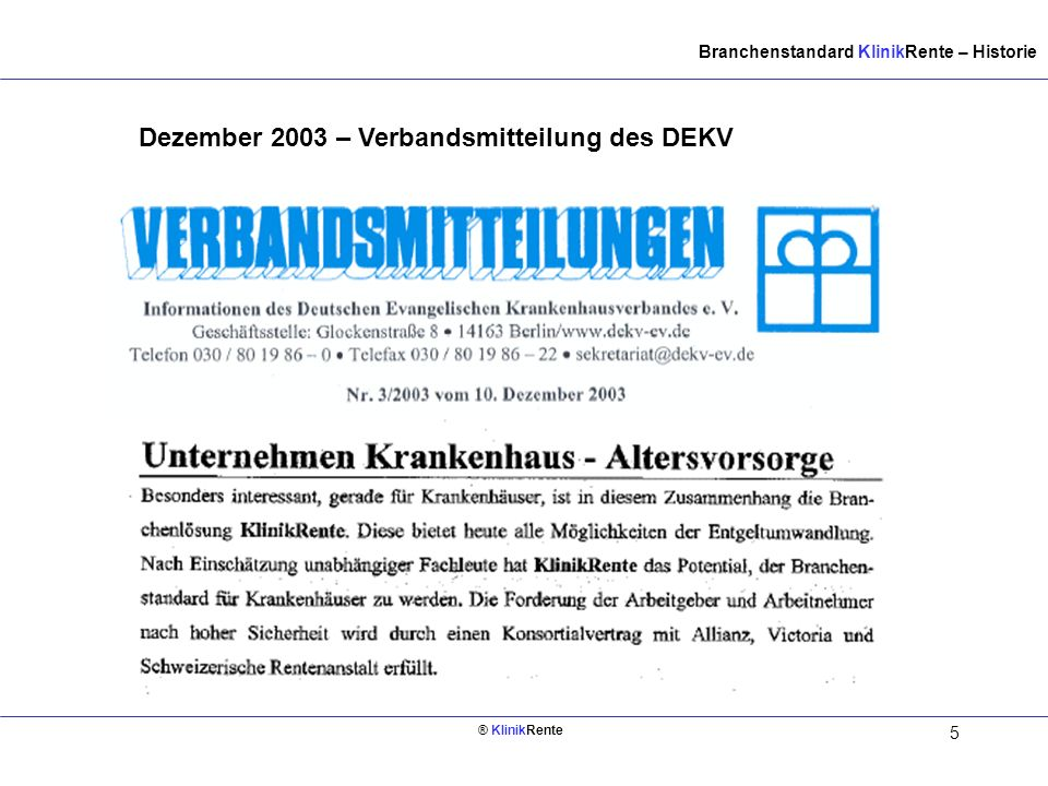 Dezember 2003 – Verbandsmitteilung des DEKV