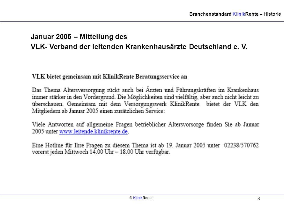 Innen links (Rückseite vom. Deckblatt) Branchenstandard KlinikRente – Historie.