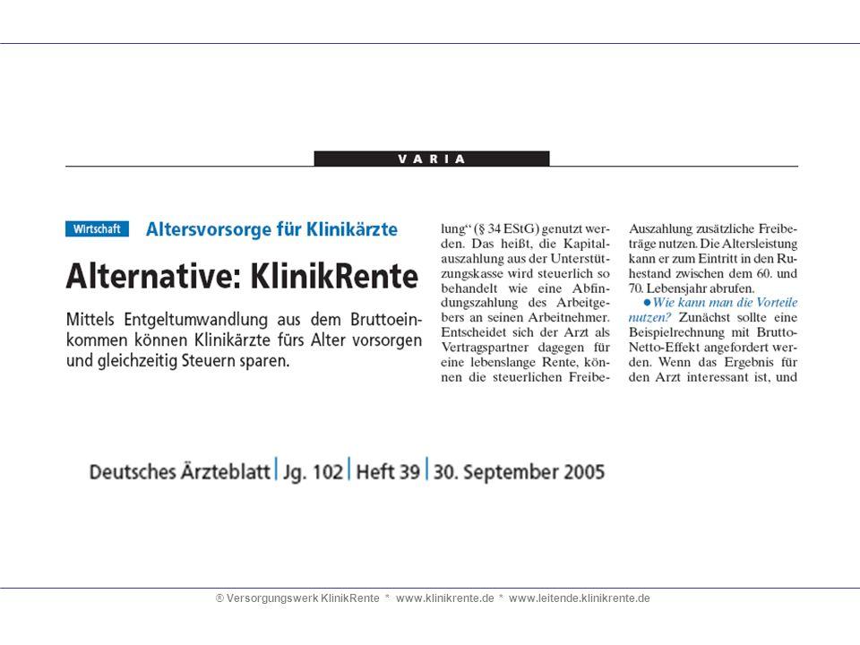 ® Versorgungswerk KlinikRente. www. klinikrente. de. www. leitende