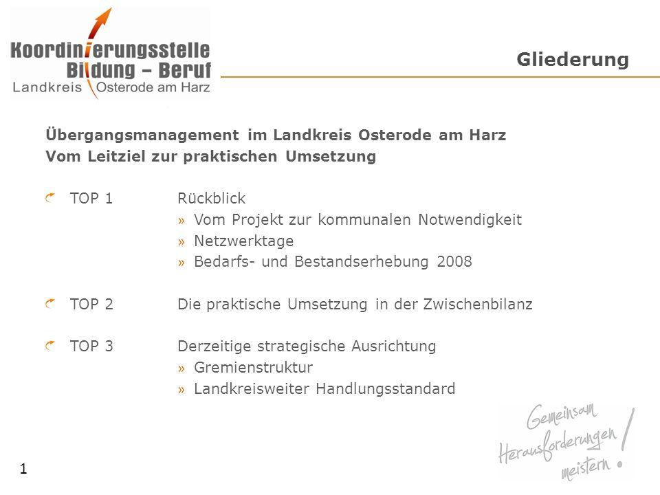 Gliederung 1 Übergangsmanagement im Landkreis Osterode am Harz