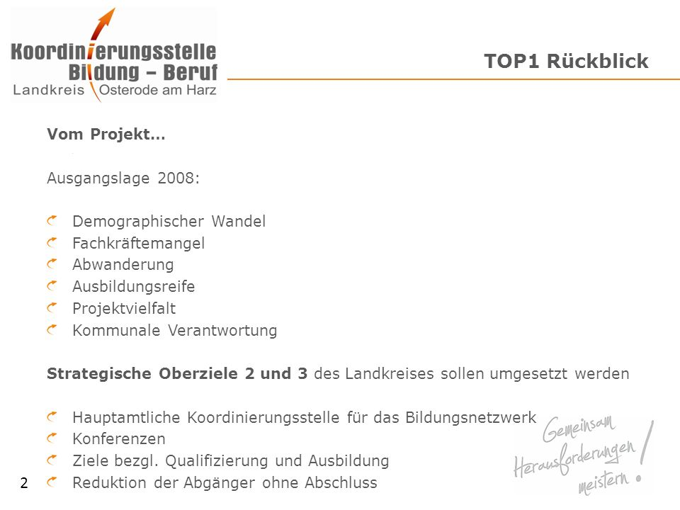 TOP1 Rückblick 2 Vom Projekt… Ausgangslage 2008:
