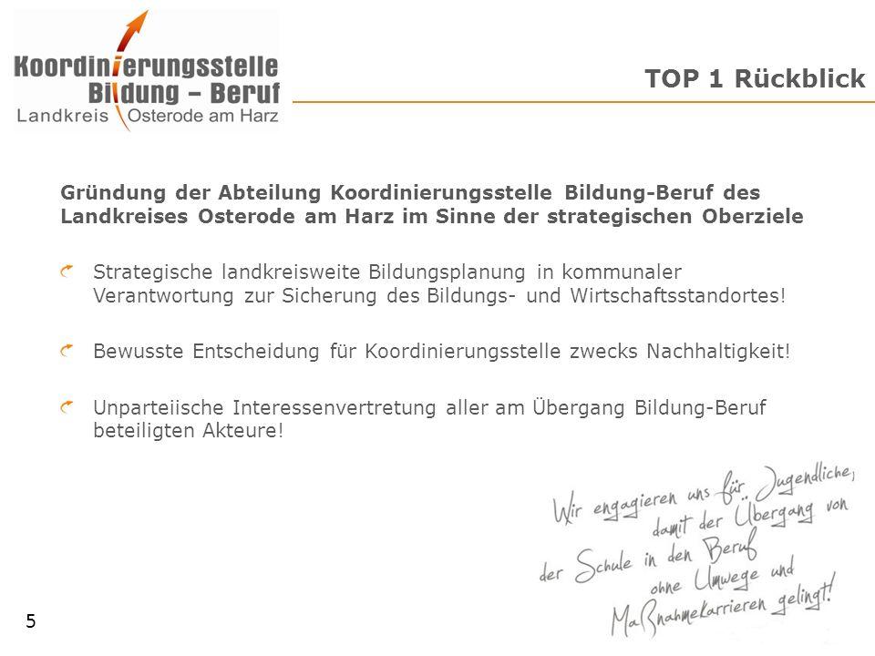 TOP 1 Rückblick Gründung der Abteilung Koordinierungsstelle Bildung-Beruf des Landkreises Osterode am Harz im Sinne der strategischen Oberziele.