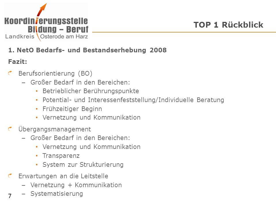 TOP 1 Rückblick 7 1. NetO Bedarfs- und Bestandserhebung 2008 Fazit: