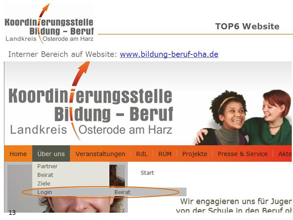 TOP6 Website Interner Bereich auf Website: www.bildung-beruf-oha.de 13
