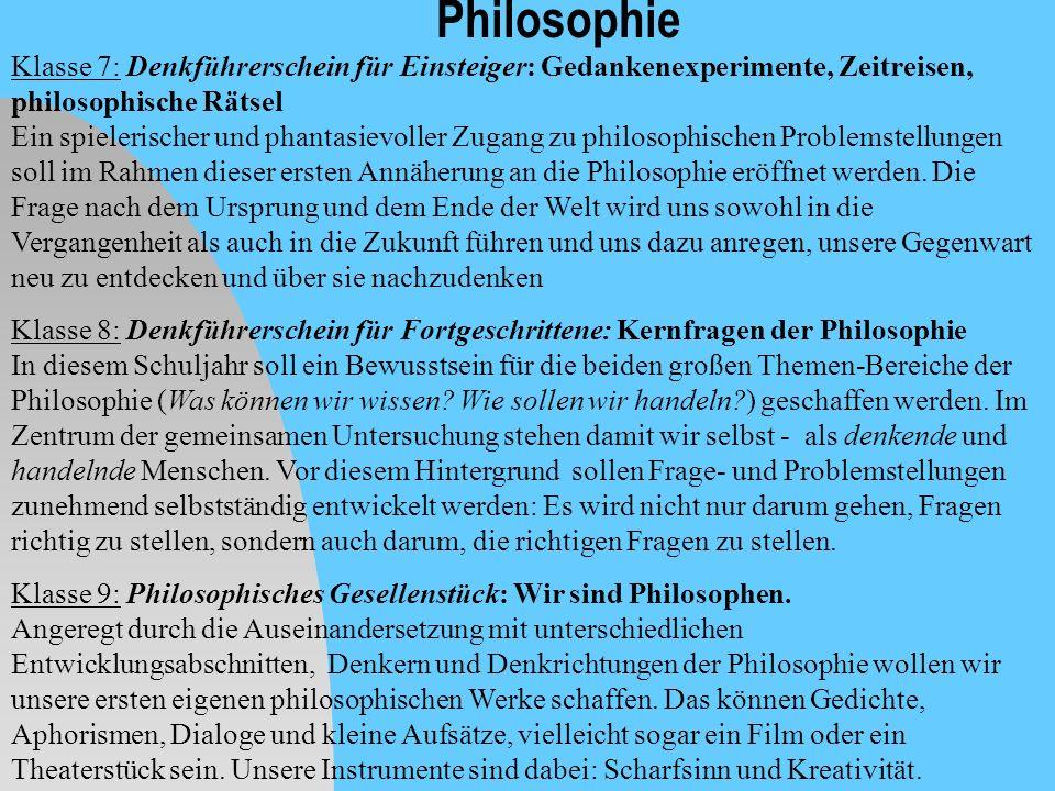 Philosophie Klasse 7: Denkführerschein für Einsteiger: Gedankenexperimente, Zeitreisen, philosophische Rätsel.