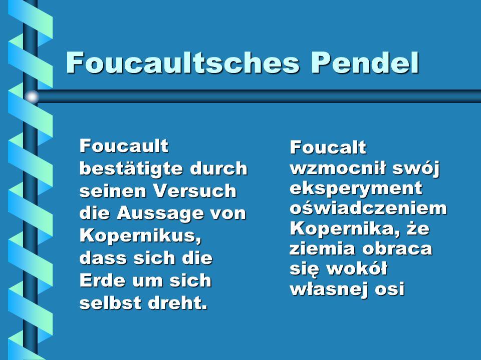Foucaultsches Pendel Foucault bestätigte durch seinen Versuch die Aussage von Kopernikus, dass sich die Erde um sich selbst dreht.