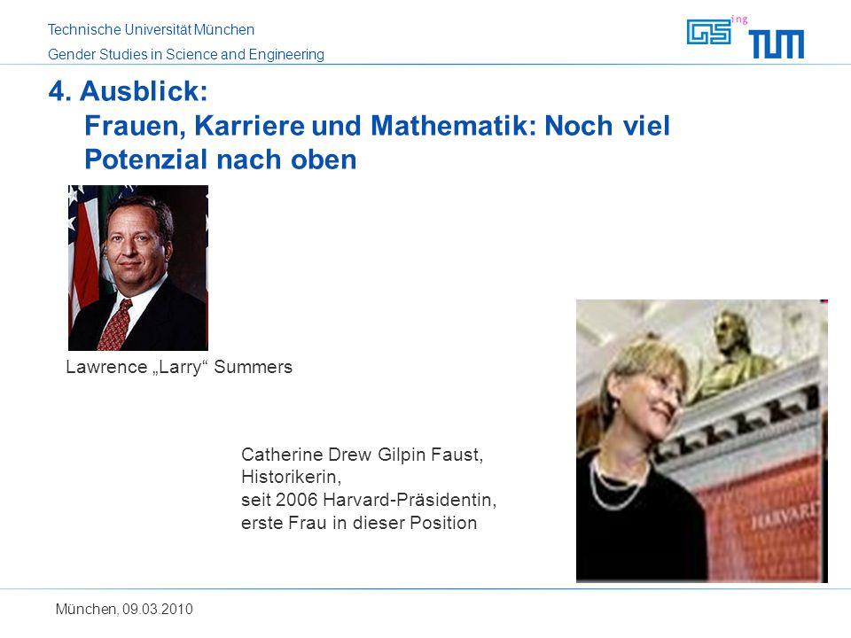 4. Ausblick: Frauen, Karriere und Mathematik: Noch viel Potenzial nach oben