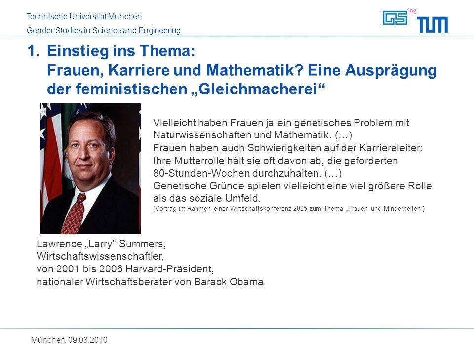 Einstieg ins Thema: Frauen, Karriere und Mathematik