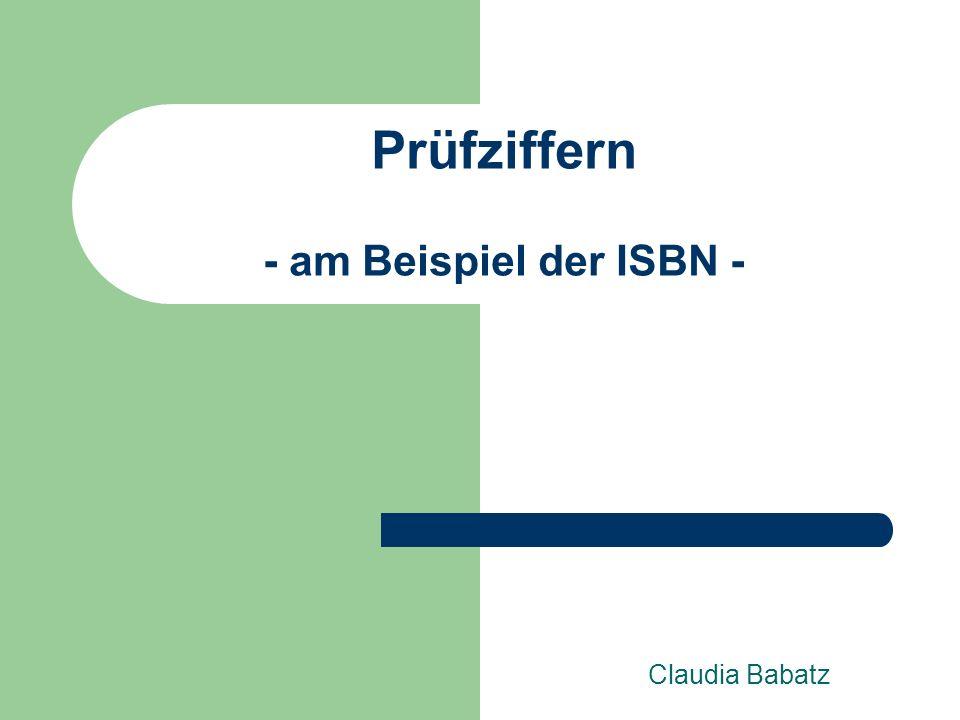 Prüfziffern - am Beispiel der ISBN -