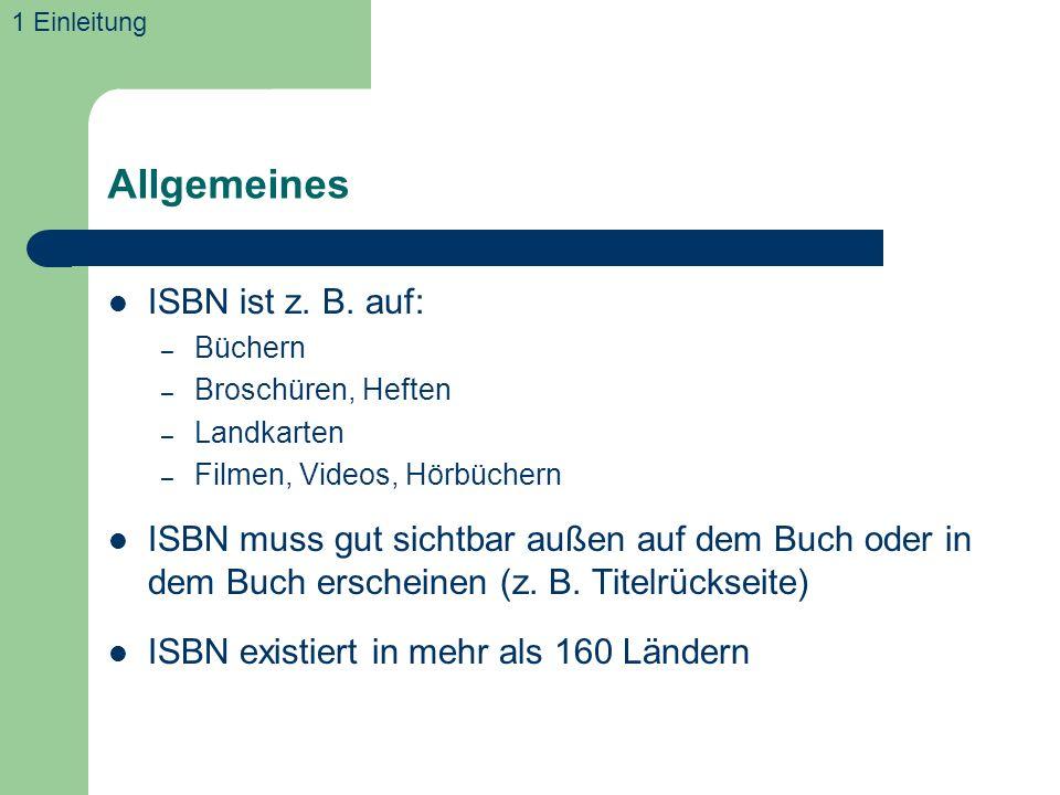 Allgemeines ISBN ist z. B. auf: