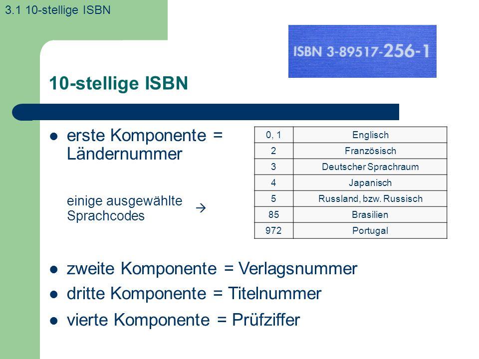 10-stellige ISBN erste Komponente = Ländernummer