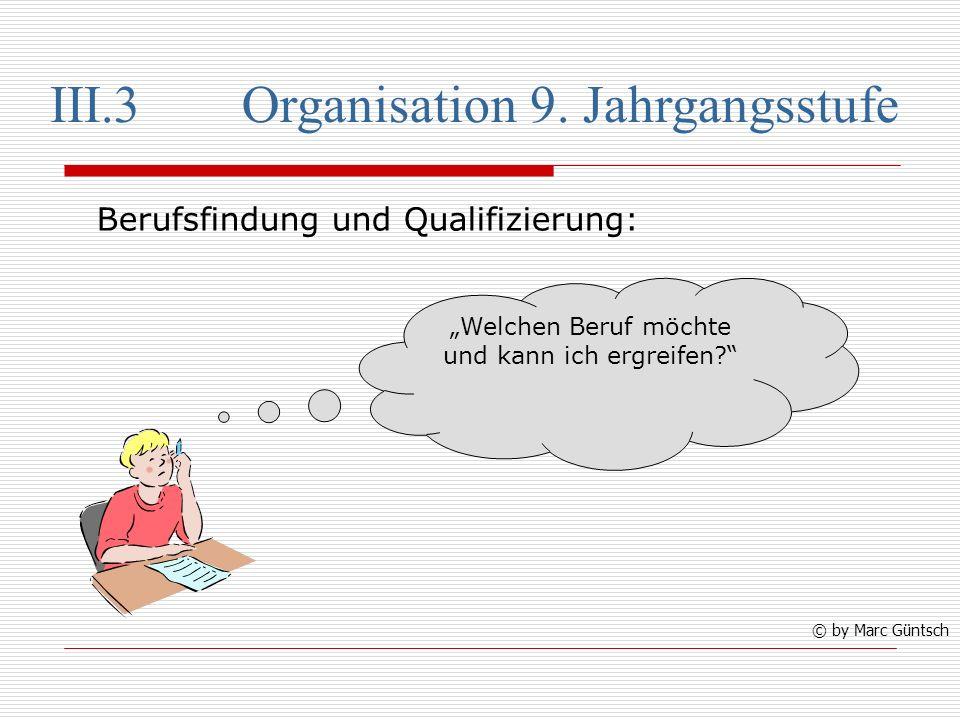 III.3 Organisation 9. Jahrgangsstufe