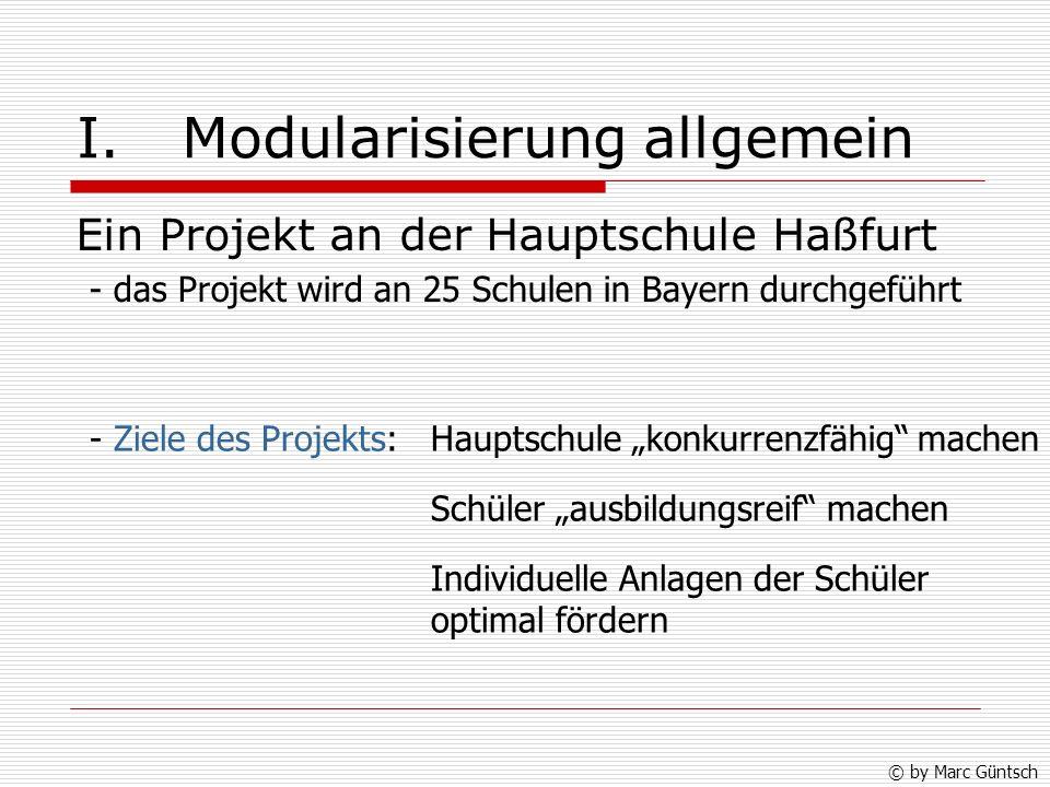 I. Modularisierung allgemein