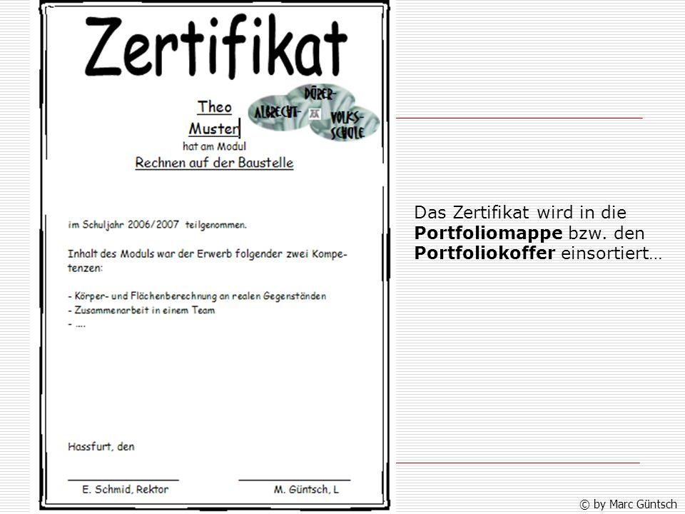 Das Zertifikat wird in die Portfoliomappe bzw. den