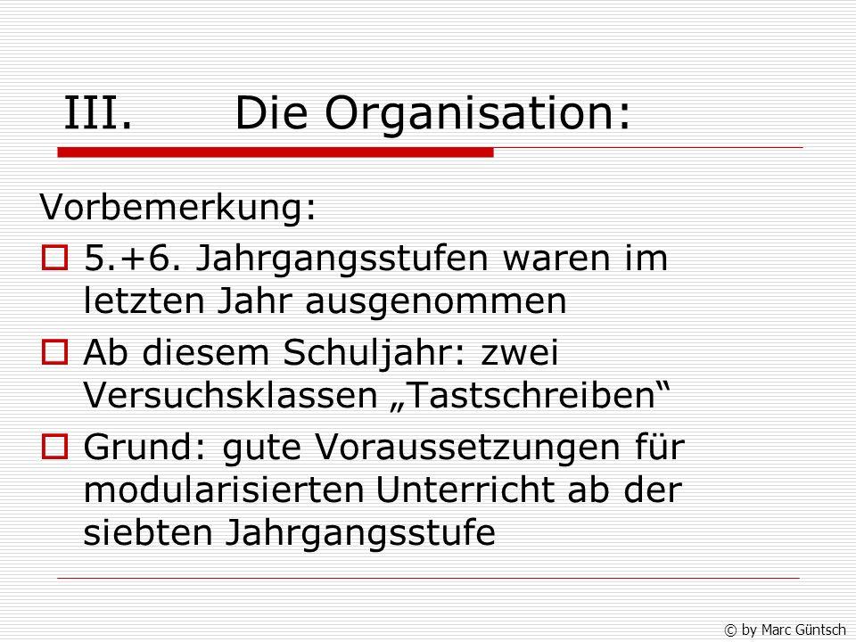 III. Die Organisation: Vorbemerkung: