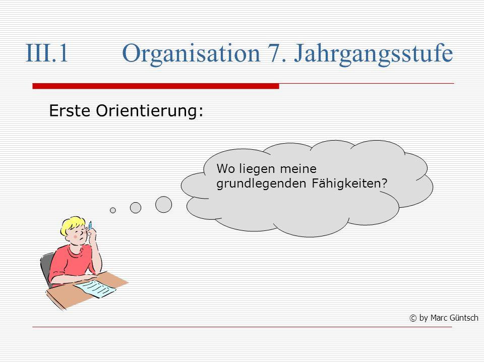 III.1 Organisation 7. Jahrgangsstufe