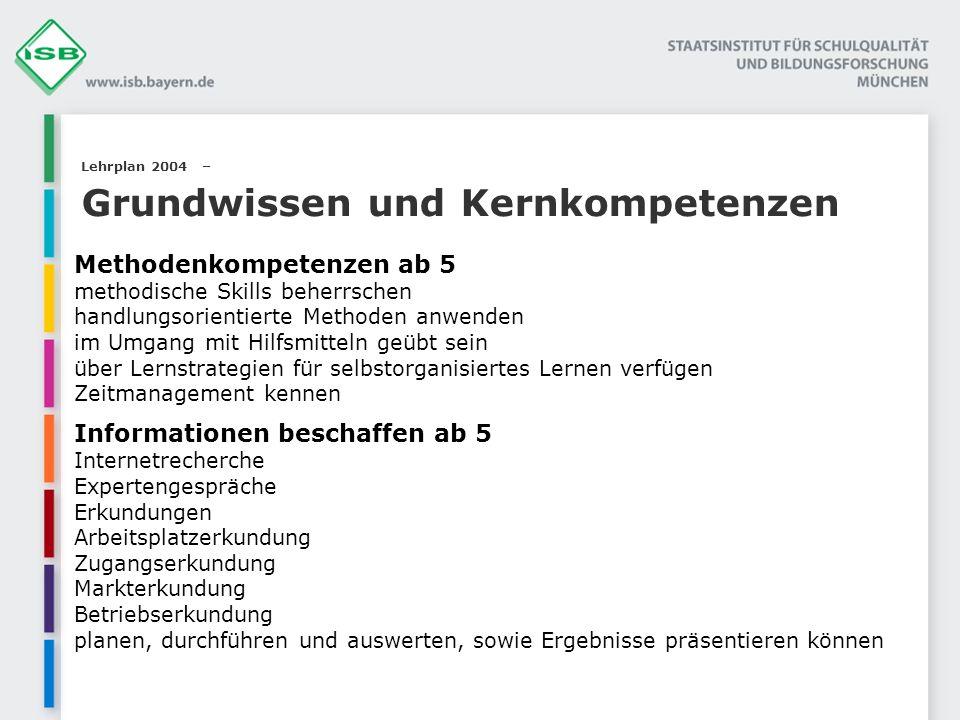 Lehrplan 2004 – Grundwissen und Kernkompetenzen