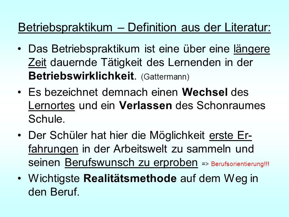 Betriebspraktikum – Definition aus der Literatur: