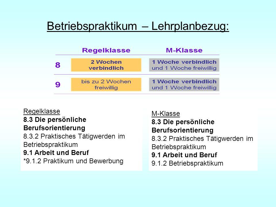 Betriebspraktikum – Lehrplanbezug: