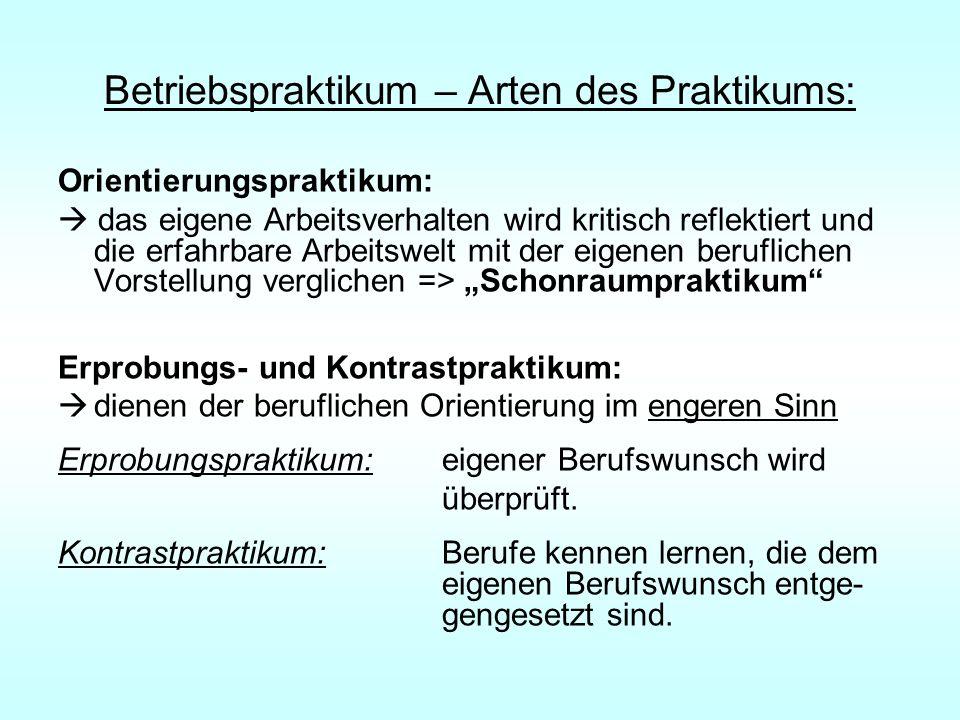 Betriebspraktikum – Arten des Praktikums: