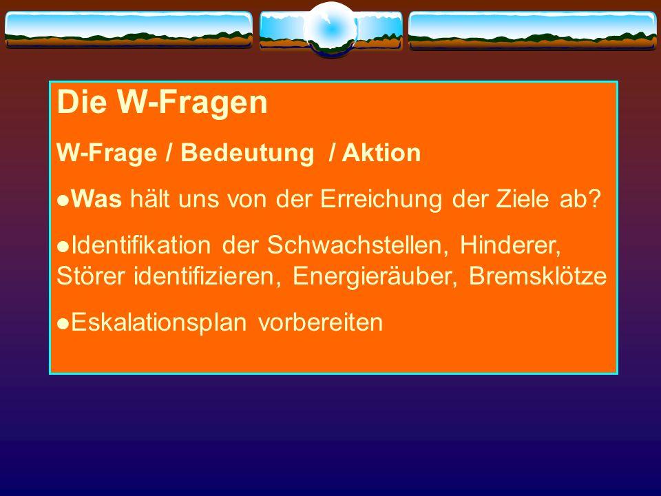 Die W-Fragen W-Frage / Bedeutung / Aktion