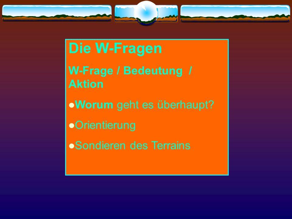 Die W-Fragen W-Frage / Bedeutung / Aktion Worum geht es überhaupt
