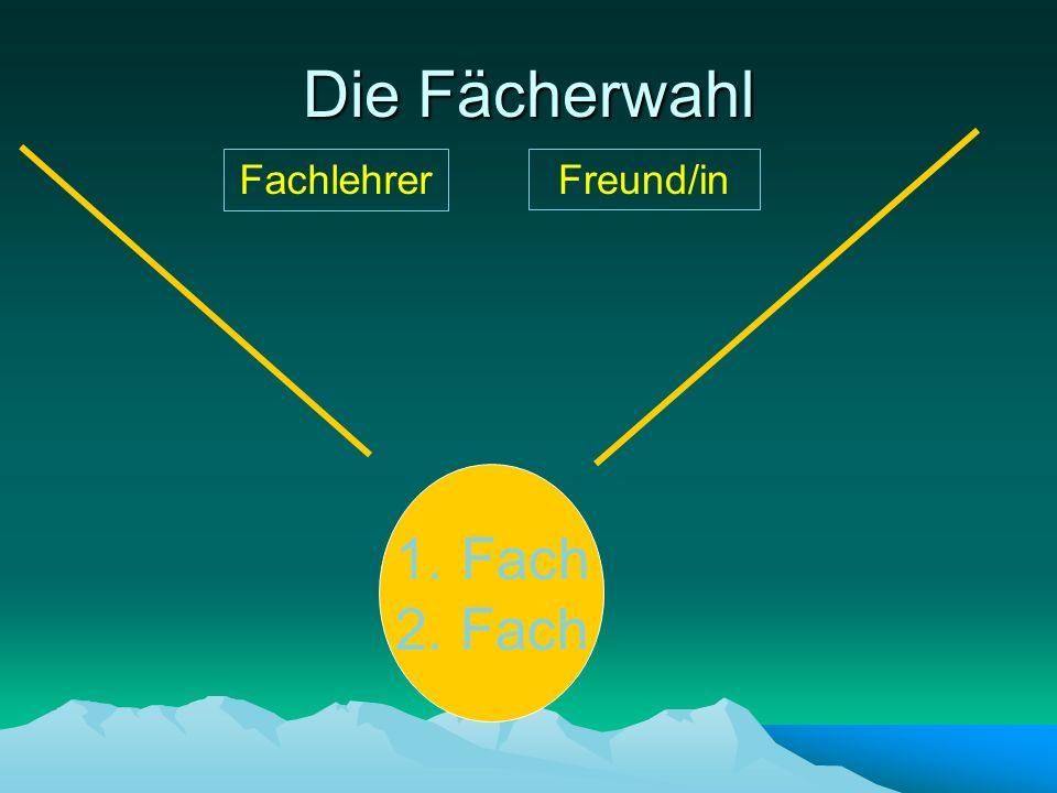 Die Fächerwahl Fachlehrer Freund/in Fach 2. Fach