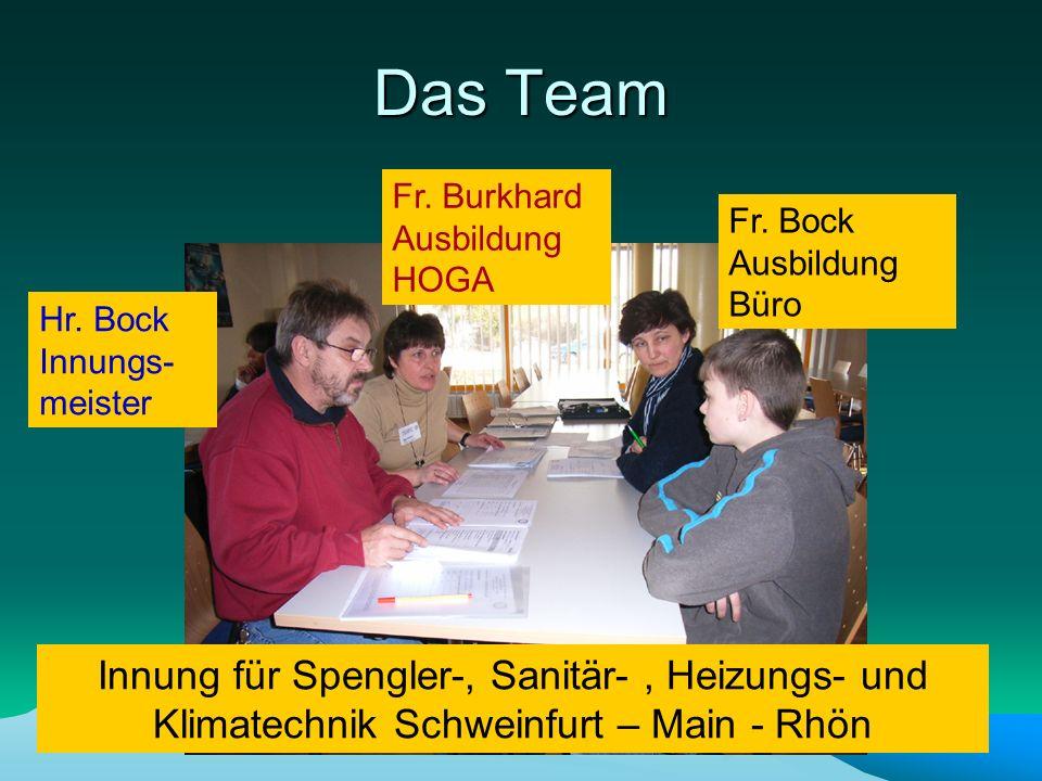 Das Team Fr. Burkhard Ausbildung HOGA. Fr. Bock Ausbildung Büro. Hr. Bock Innungs-meister.