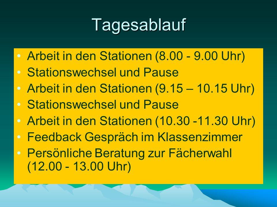 Tagesablauf Arbeit in den Stationen (8.00 - 9.00 Uhr)