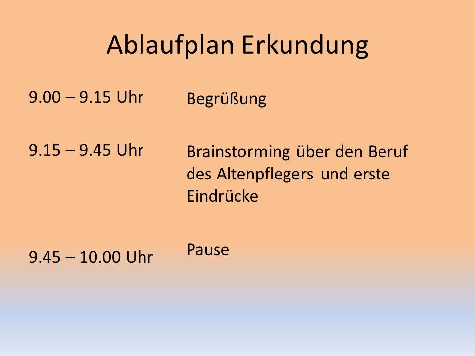 Ablaufplan Erkundung 9.00 – 9.15 Uhr 9.15 – 9.45 Uhr 9.45 – 10.00 Uhr
