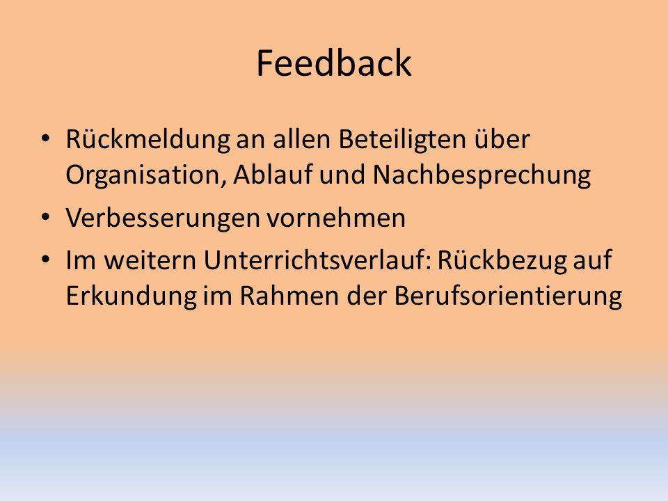 Feedback Rückmeldung an allen Beteiligten über Organisation, Ablauf und Nachbesprechung. Verbesserungen vornehmen.