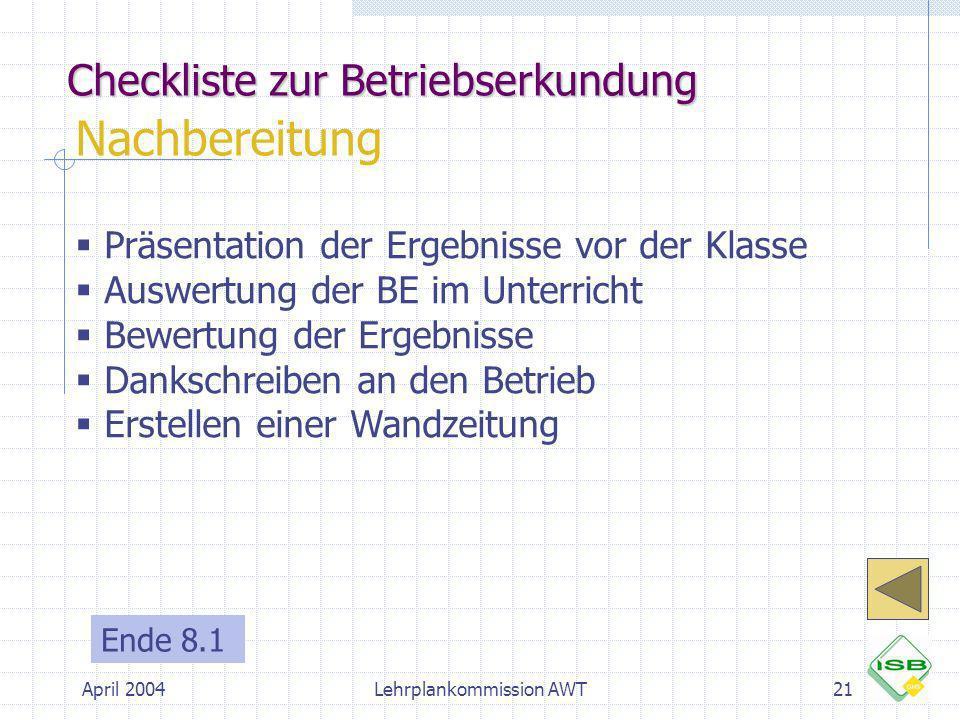 Checkliste zur Betriebserkundung