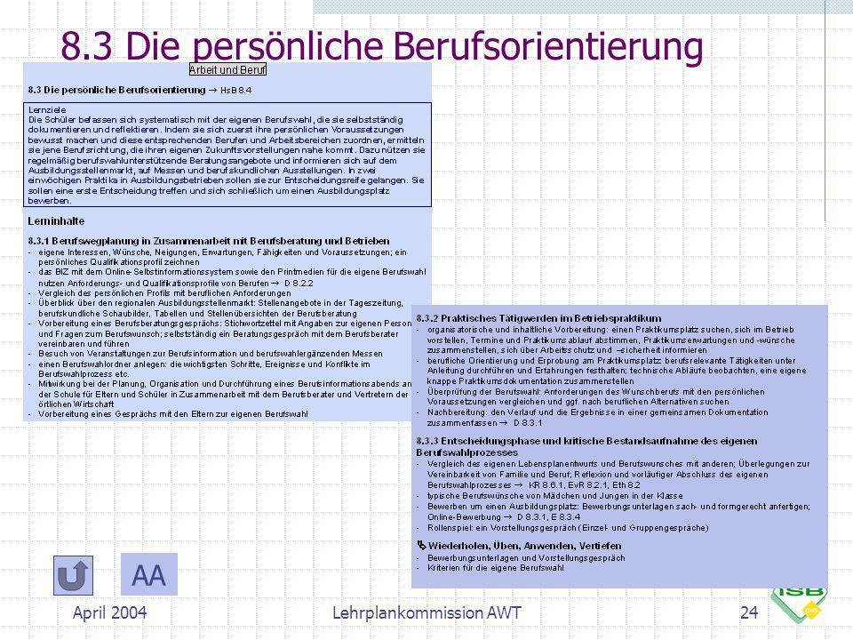 8.3 Die persönliche Berufsorientierung