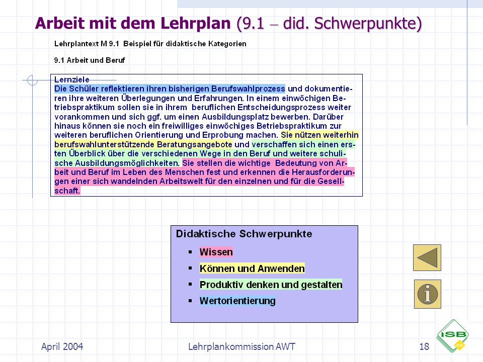 Arbeit mit dem Lehrplan (9.1 – did. Schwerpunkte)
