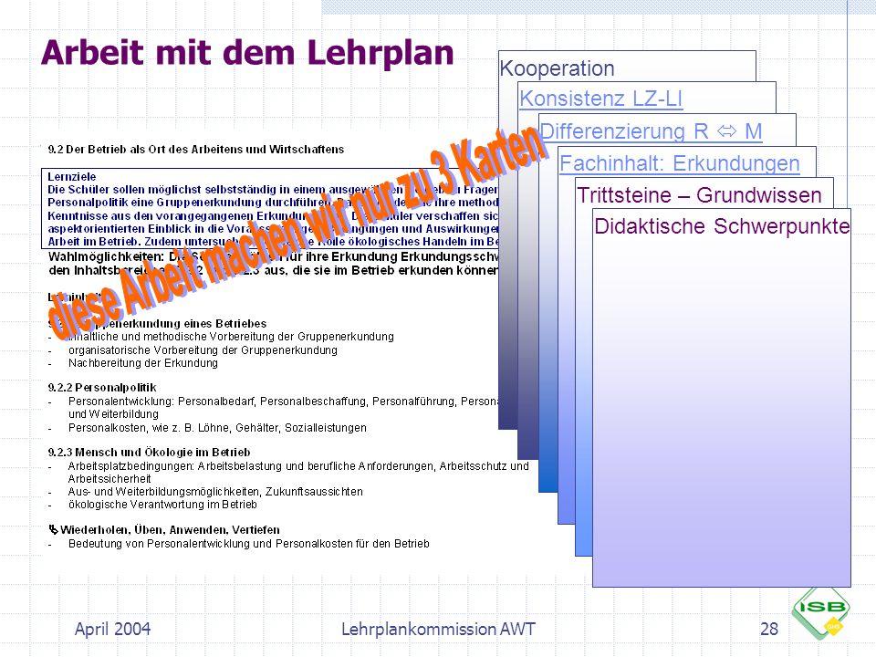 Arbeit mit dem Lehrplan