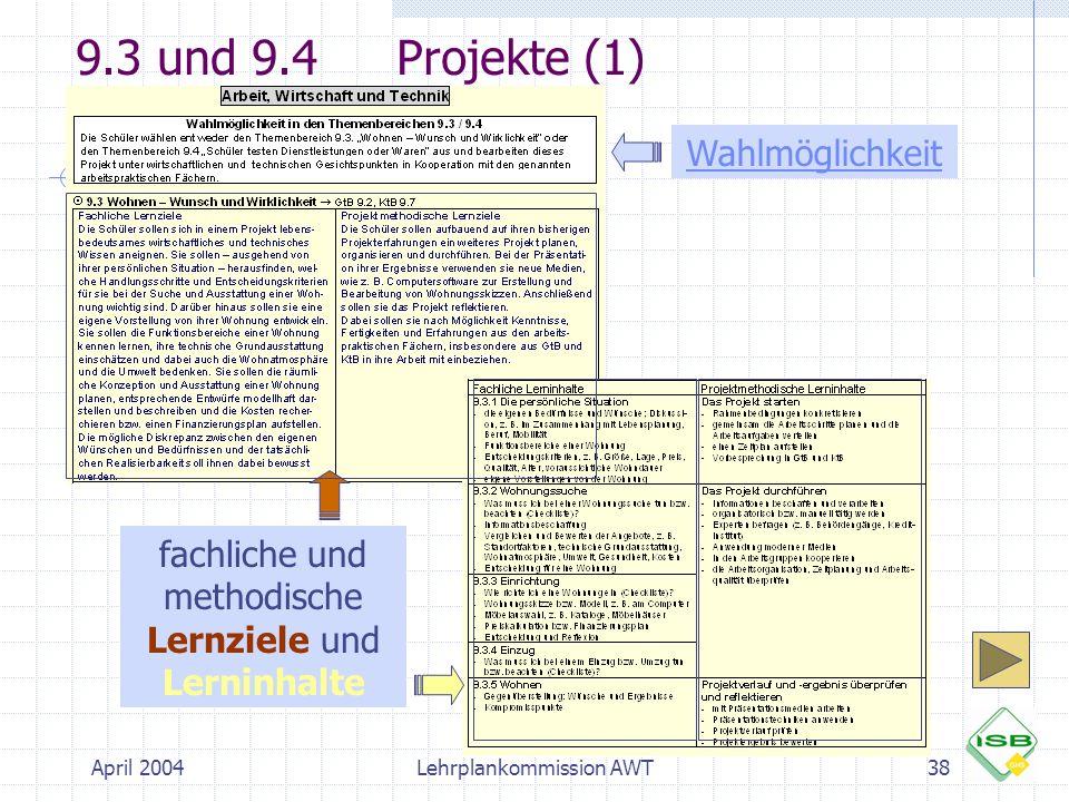 9.3 und 9.4 Projekte (1) Wahlmöglichkeit