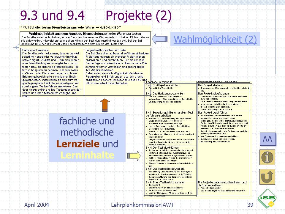 9.3 und 9.4 Projekte (2) Wahlmöglichkeit (2)