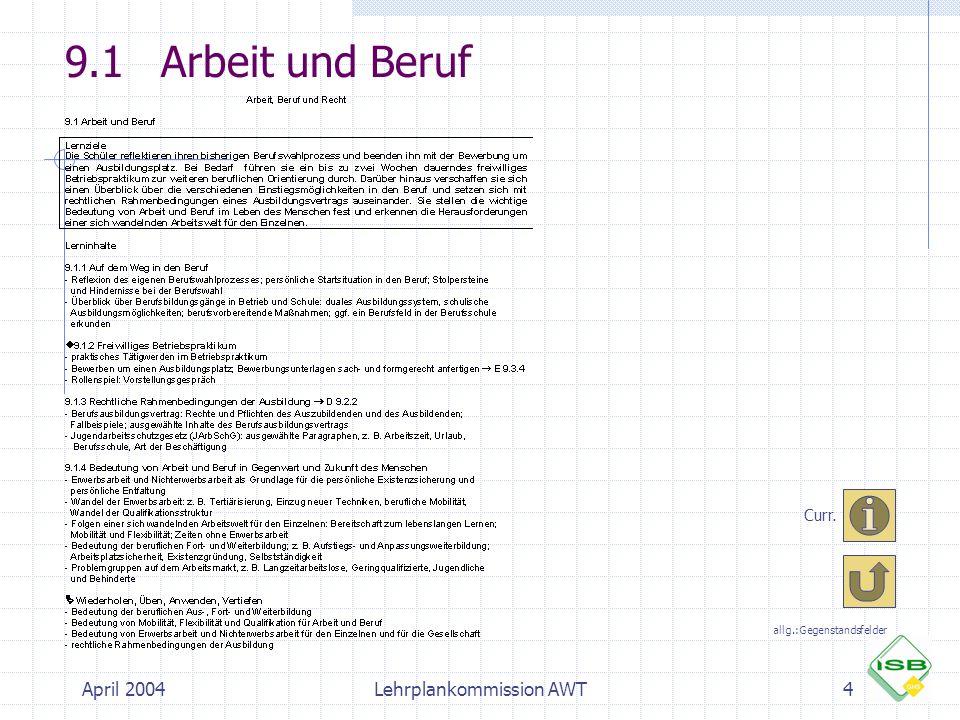9.1 Arbeit und Beruf April 2004 Lehrplankommission AWT Curr.