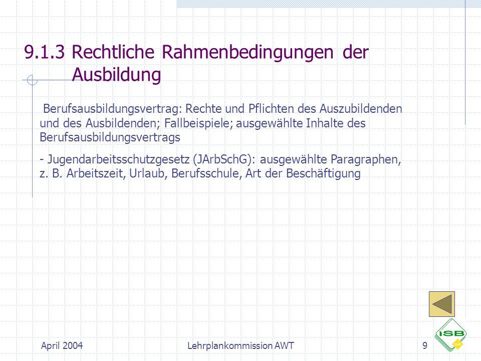 9.1.3 Rechtliche Rahmenbedingungen der Ausbildung