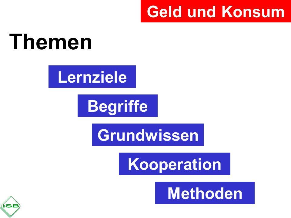 Themen Geld und Konsum Lernziele Begriffe Grundwissen Kooperation