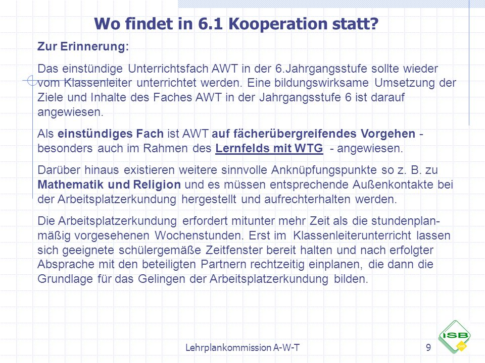 Wo findet in 6.1 Kooperation statt