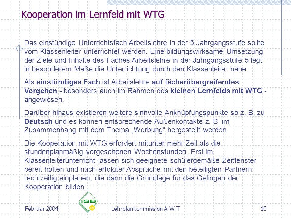 Kooperation im Lernfeld mit WTG