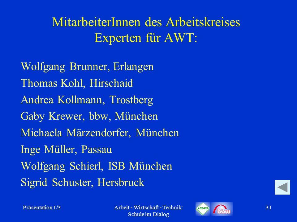 MitarbeiterInnen des Arbeitskreises Experten für AWT: