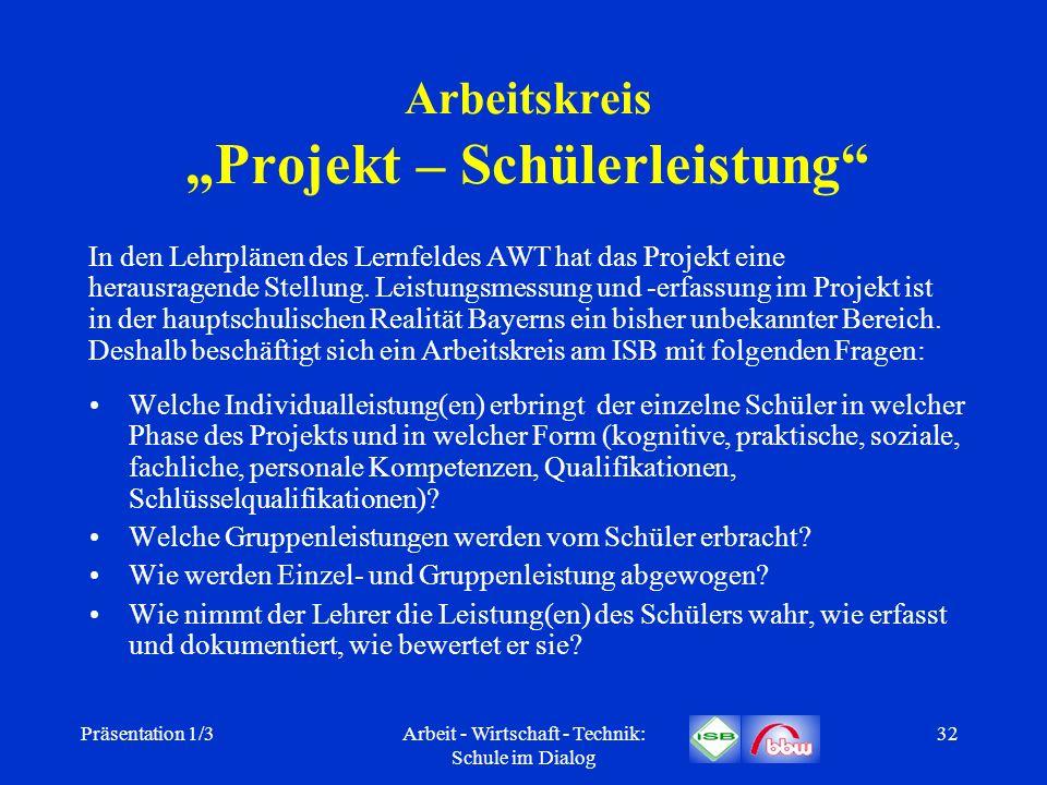 "Arbeitskreis ""Projekt – Schülerleistung"